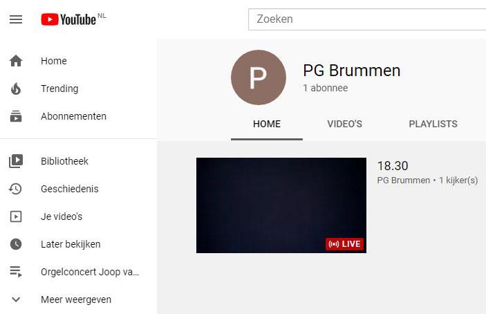 """Klik op het plaatje- U komt op Youtube PG Brummen- 1 nov vanaf 09.55u: klik op """"live""""  voor de uitzending van de intrededienst"""